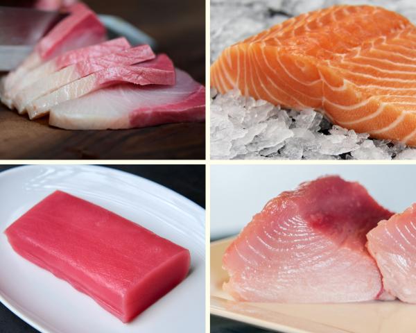 Sashimi Sampler pack with hamachi, salmon, yellowfin and albacore